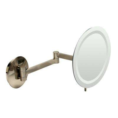9 in. x 9 in. Round Frameless Wall Mounted LED Lighted Single 5X Mirror in Brushed Nickel