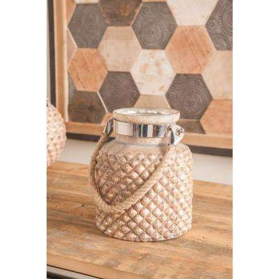 Distressed Gold Hobnail Design Candle Lantern
