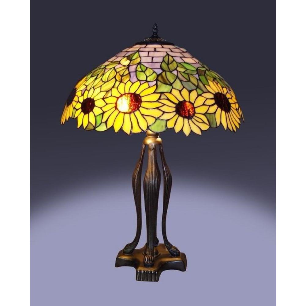 Serena ditalia 25 in tiffany bronze style sunflower table lamp tiffany bronze style sunflower table lamp tf7026tl the home depot aloadofball Choice Image