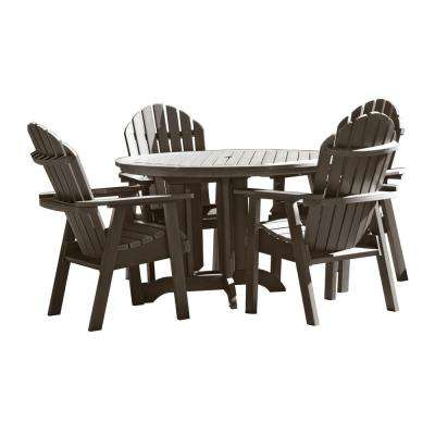 Hamilton Weathered Acorn 5-Piece Recycled Plastic Round Outdoor Dining Set