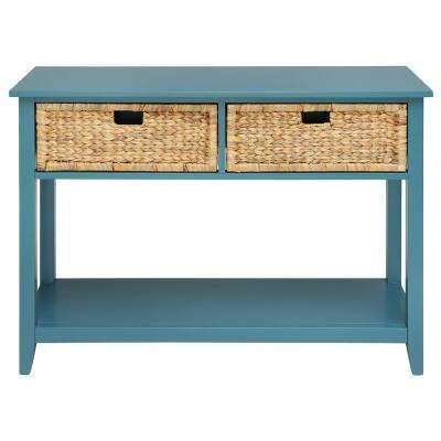 Amelia 28 in. Teal Solid Wood Leg Console Table