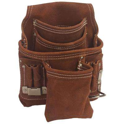 9 in. Tool Case with 10-Pockets in Brown