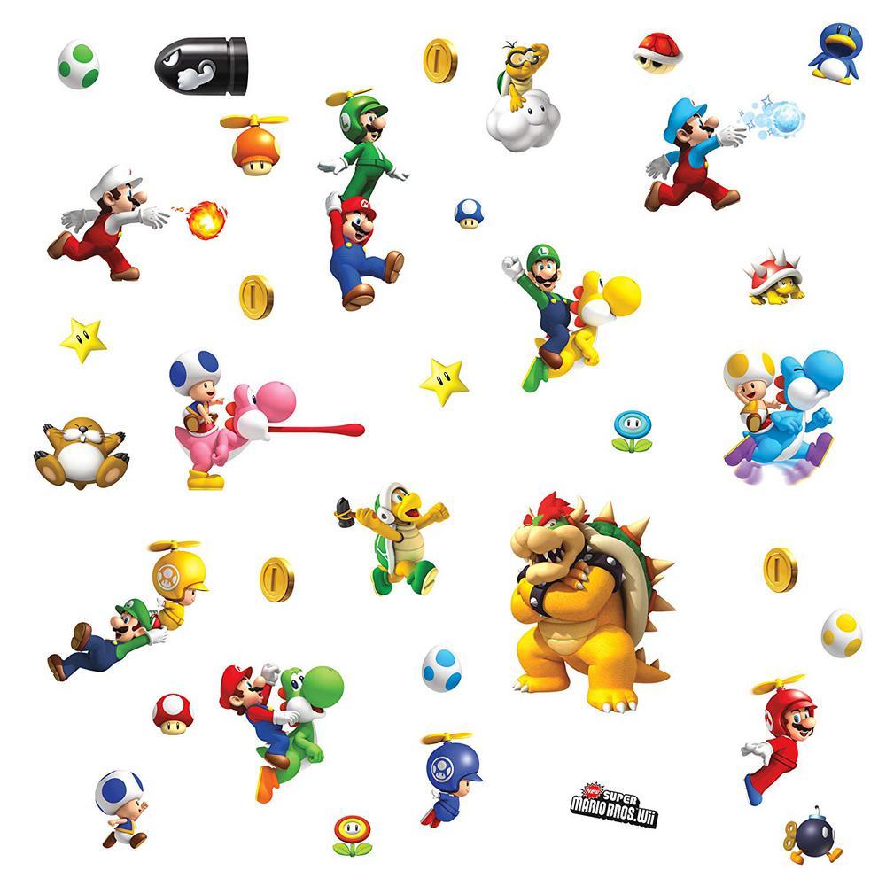 Nintendo - Super Mario Bros  Wii Peel and Stick 35-Piece Wall Decals