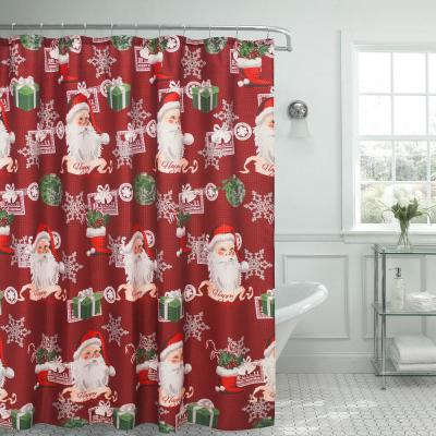 70 in. x 72 in. Ho Ho Santa Textured Shower Curtain