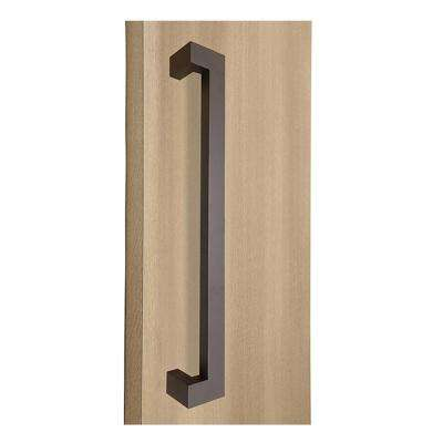 72 in. Rectangular Offset 1.5 in. x 1 in. Bronze Stainless Steel Door Pull Handleset for Easy Installation