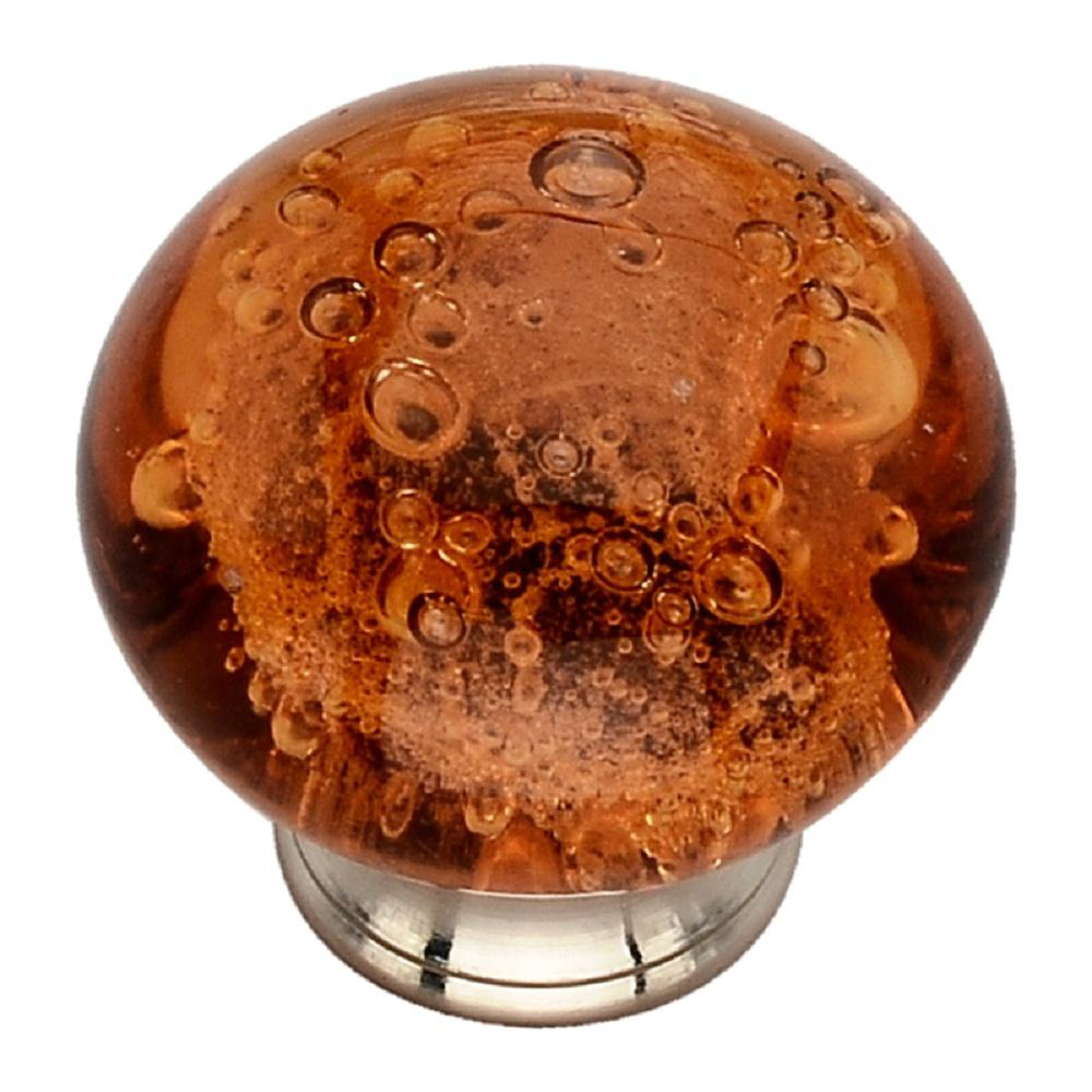 1-1/2 in. Orange Bubbled Glass Cabinet Knob
