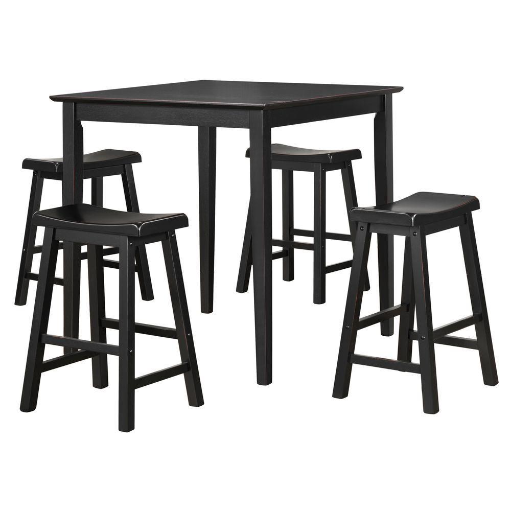 HomeSullivan 5-Piece Black Bar Table Set