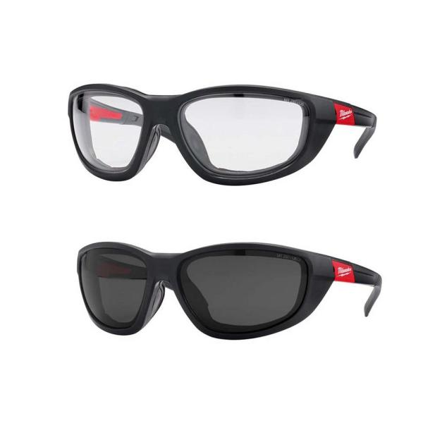 High Performance Safety Glasses with Clear and Tinted Lenses and Gasket (2-Pack)