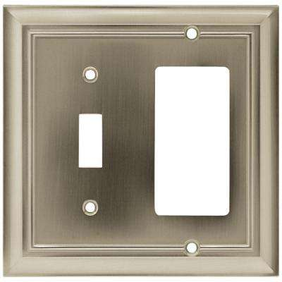 Architectural Decorative Switch and Rocker Switch Plate, Satin Nickel