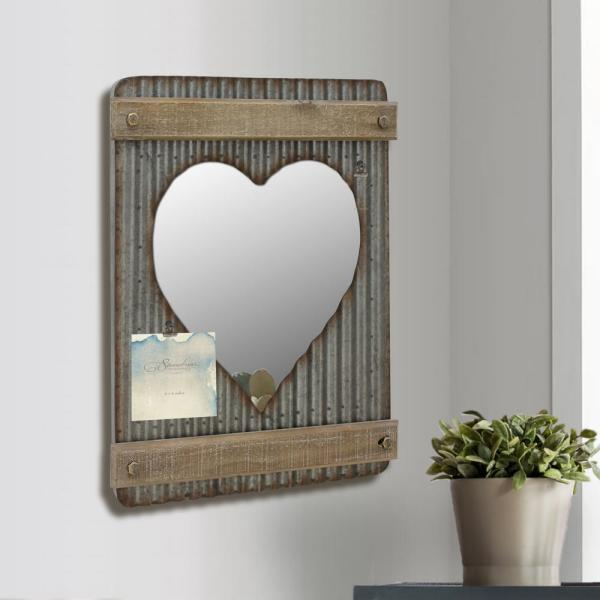 Stonebriar Collection 15 In X 20 In Silver Corrugated Metal And Wood Heart Shaped Wall Mirror Decor Sb 6015m The Home Depot
