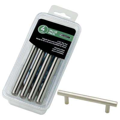 3-3/4 in. (96mm) Stainless Steel Bar Drawer Pull (4-Pack)