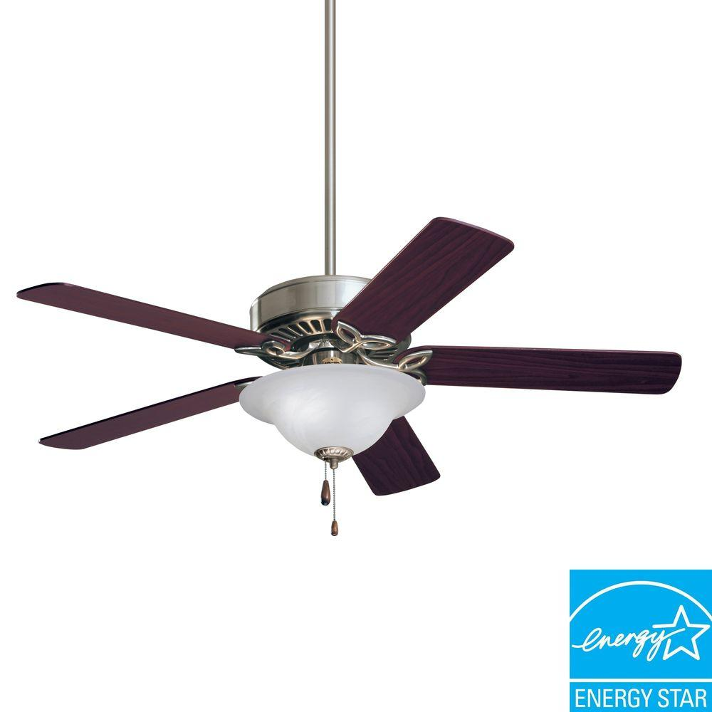 Illumine 3-Light 50 in. Brushed Steel Ceiling Fan with Dark Cherry/Mahogany Blades