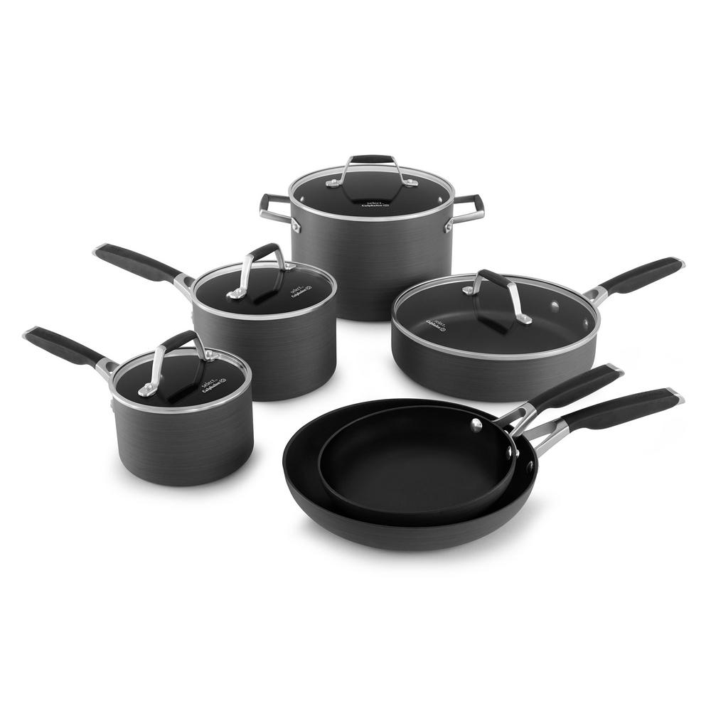 Select 10-Piece Black Hard Anodized Cookware Set with Lids