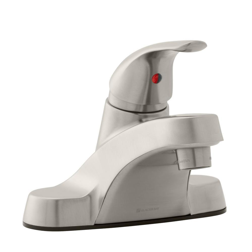 Aragon 4 in. Centerset Single-Handle Low-Arc Bathroom Faucet in Brushed Nickel