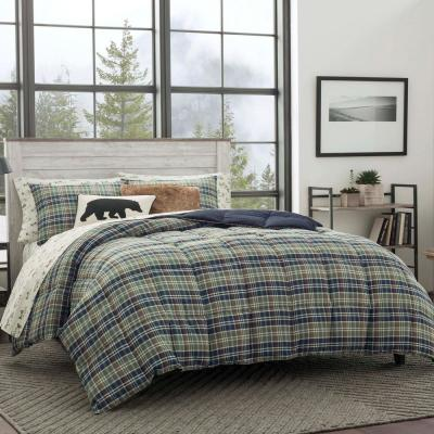 Rugged 2-Piece Navy Blue Plaid Microsuede Twin Comforter Set