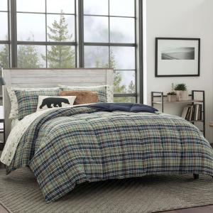 Rugged 3-Piece Navy Blue Plaid Microsuede Full/Queen Comforter Set