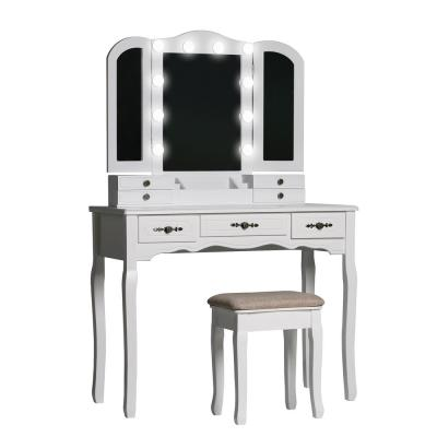 Modern Wooden White Bedroom Vanity Sets Makeup Table With Stool and LED Bulbs Fold Mirror