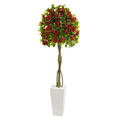 6 ft. High Indoor Bougainvillea Artificial Tree in White Tower Planter