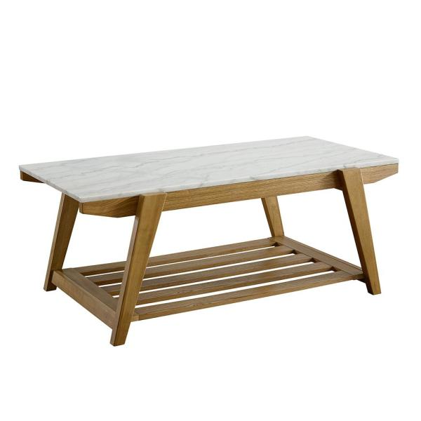 Celeste 48 in. White/Oak Large Rectangle Stone Coffee Table with Shelf