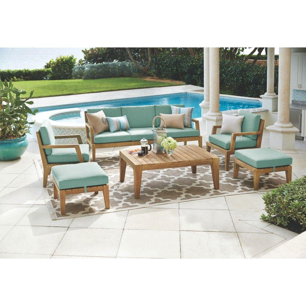 Home Decorators Collection Bermuda 6 Piece All Weather Eucalyptus Wood  Patio Seating Set With Spa Blue Fabric 7633810340   The Home Depot