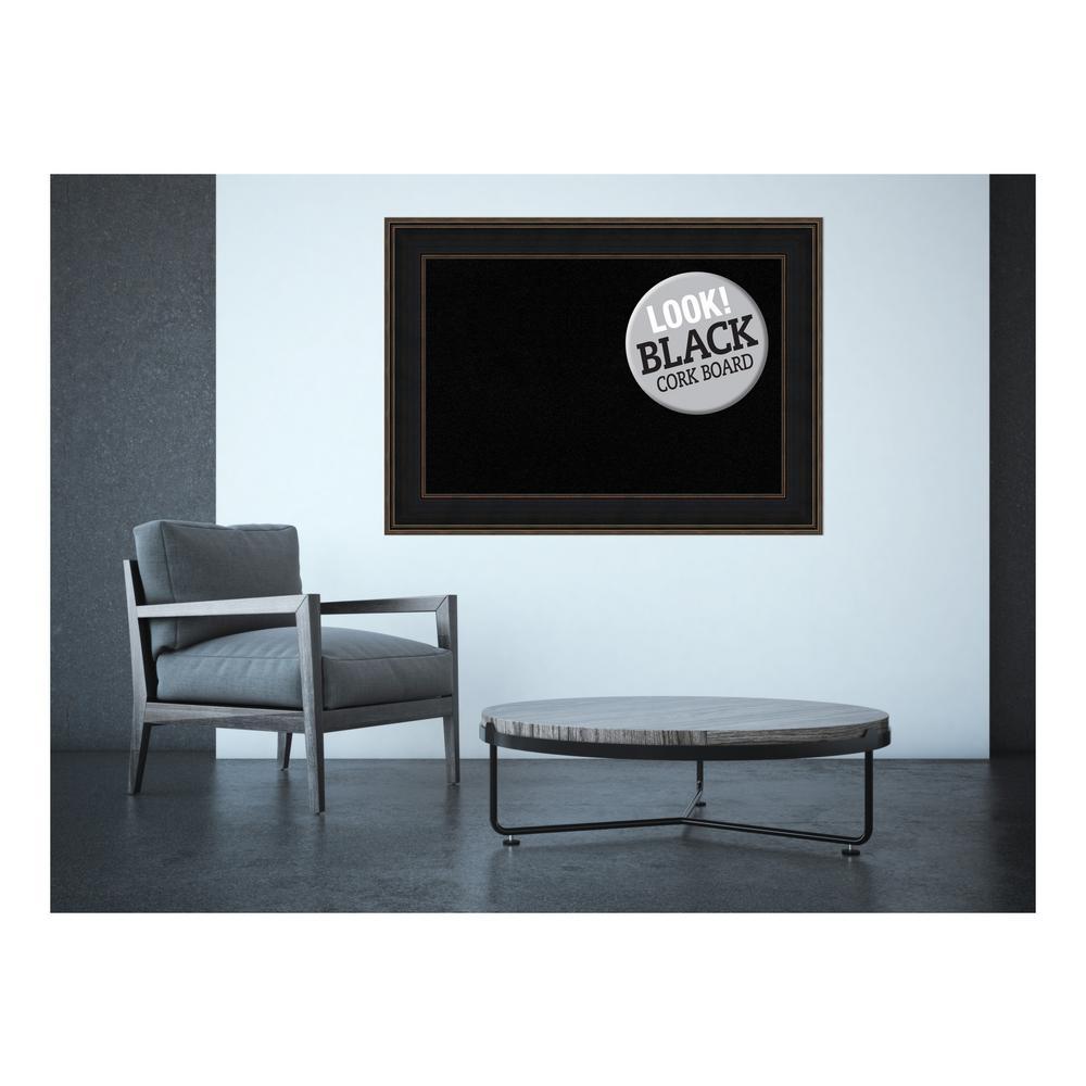Mezzanine Espresso Wood 44 in. x 32 in. Framed Black Cork Board