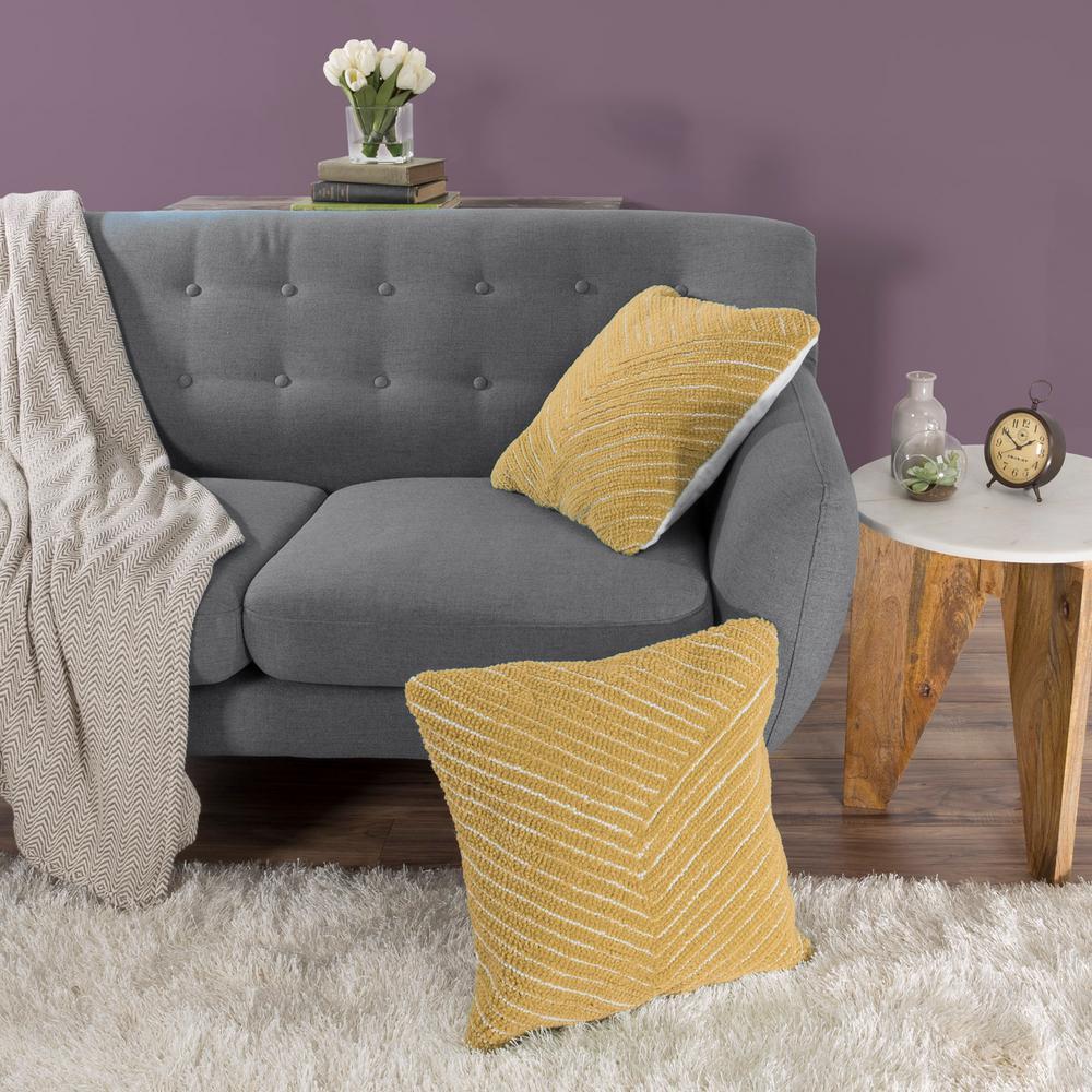 Modern Diagonal Stripe Yellow Decorative Pillow