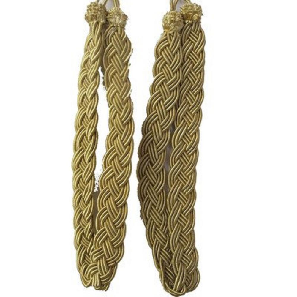 Vintiquewise Pair of Gold Rope Curtain Tie Back