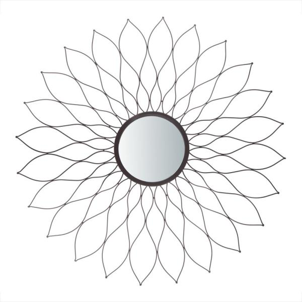 Medium Sunburst Black Novelty Mirror (35.0 in. H x 35.0 in. W)