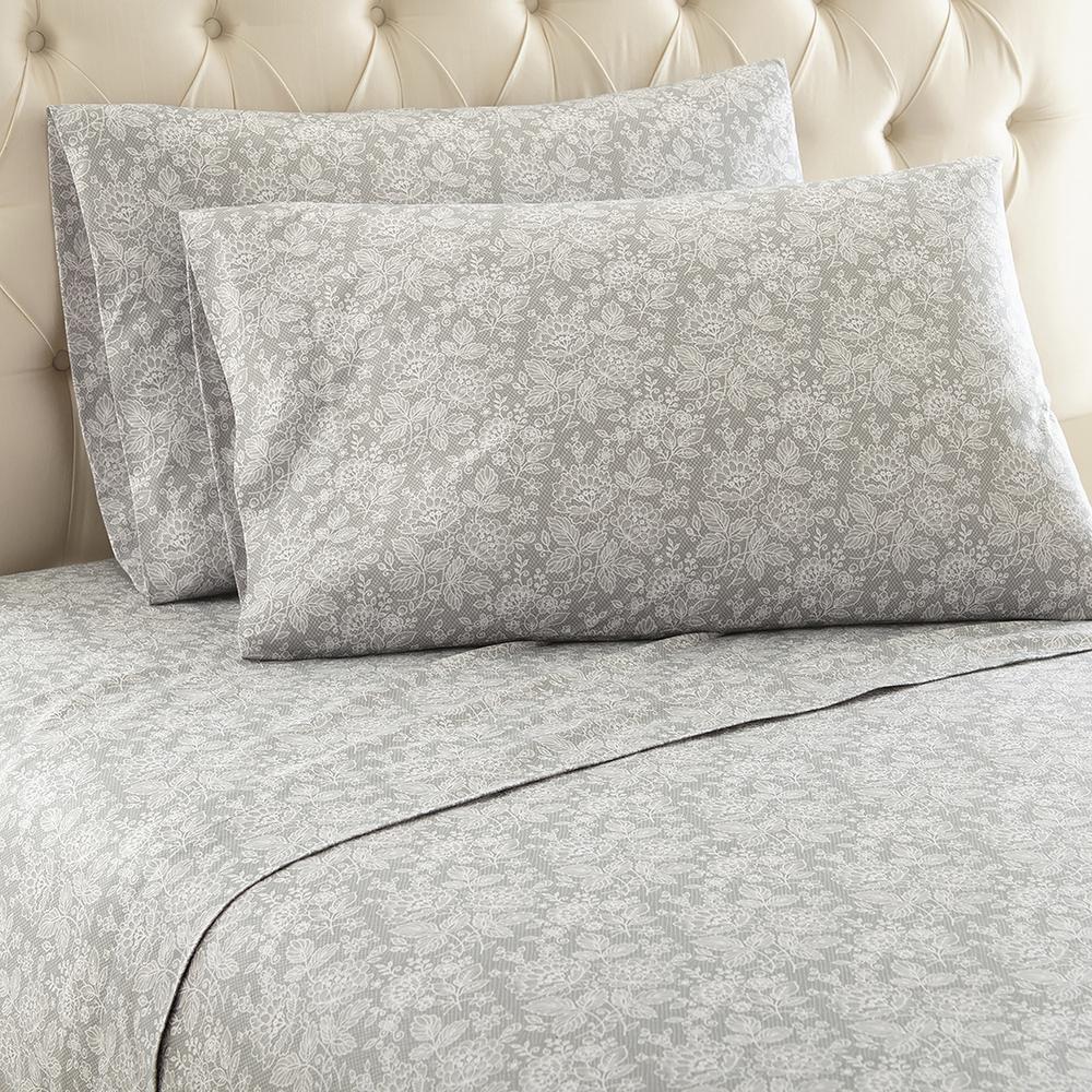 Enchantment 3-Piece Gray Twin Polyester Sheet Set