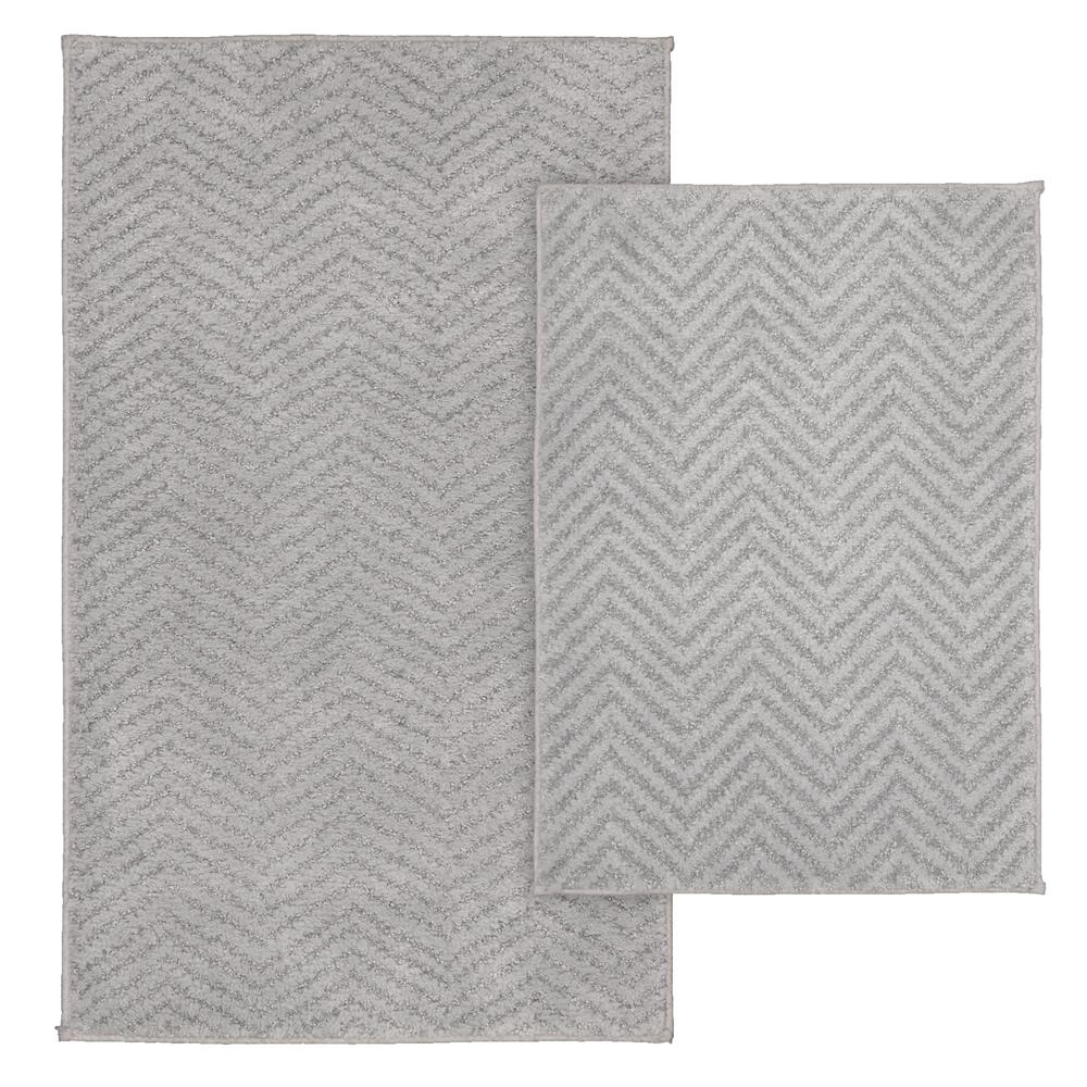 Garland Rug Palazzo 2 Piece Washable Bathroom Set In Silver