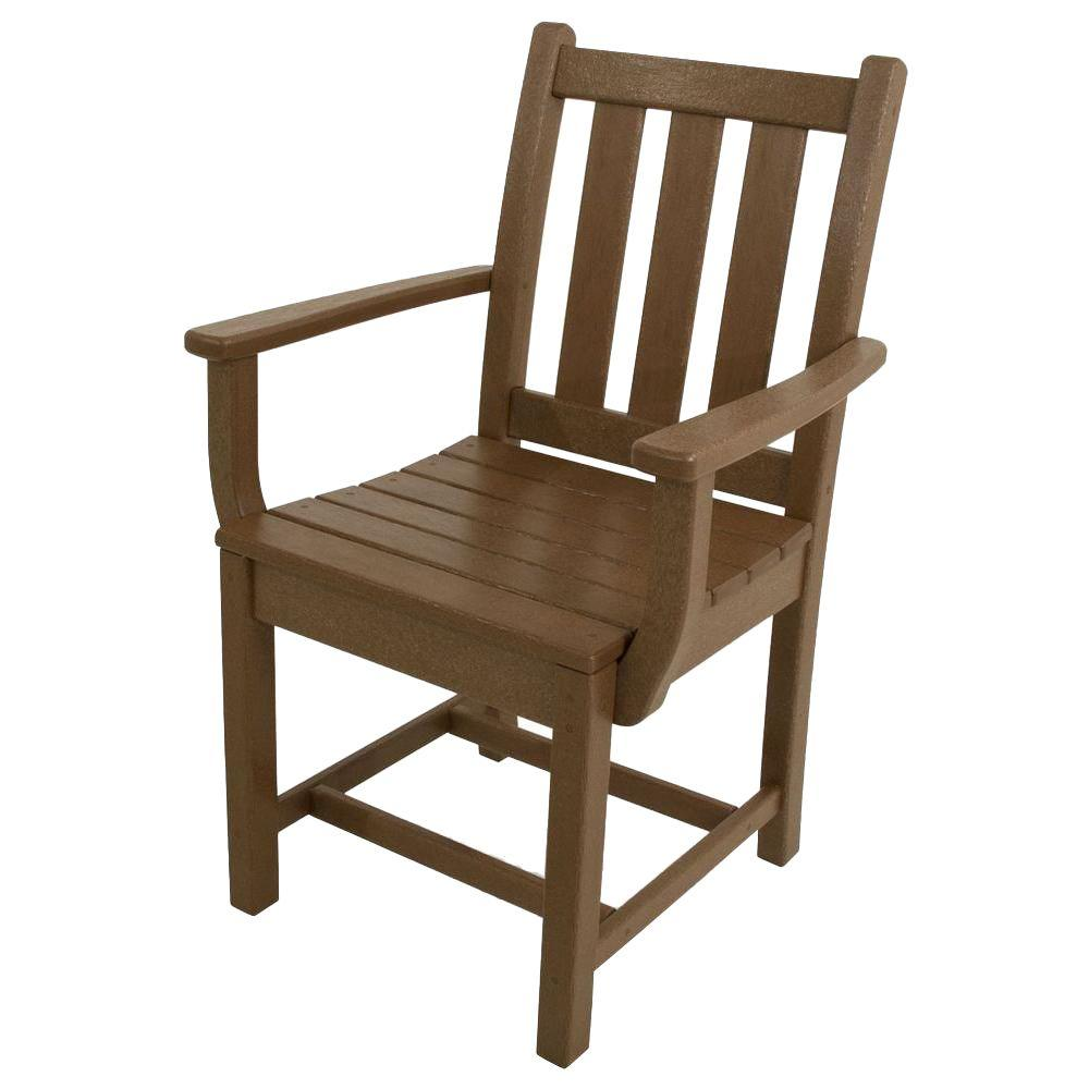 POLYWOOD Traditional Garden Teak All-Weather Plastic Outdoor Dining Arm  Chair