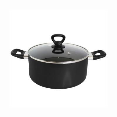 6 qt. Round Aluminum Dutch Oven in Black with Lid