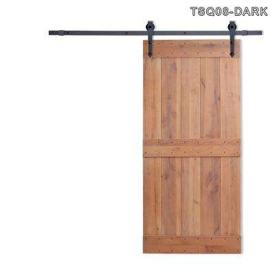 36 in. x 84 in. Vertical Slat 2-Panel Primed Natural Wood Sliding Barn Door with Sliding Door Hardware Kit