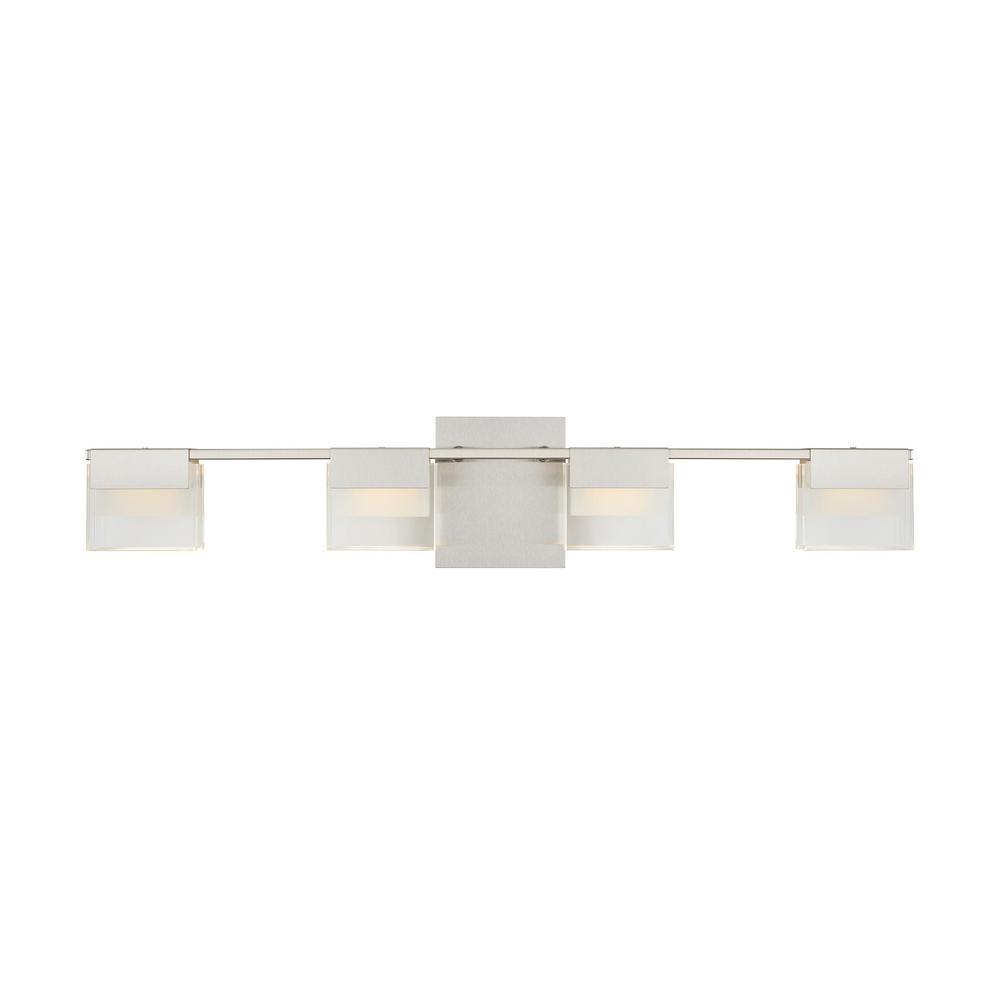 Home Decorators Collection VICINO 100-Watt Matte Nickel Integrated LED Bath Light