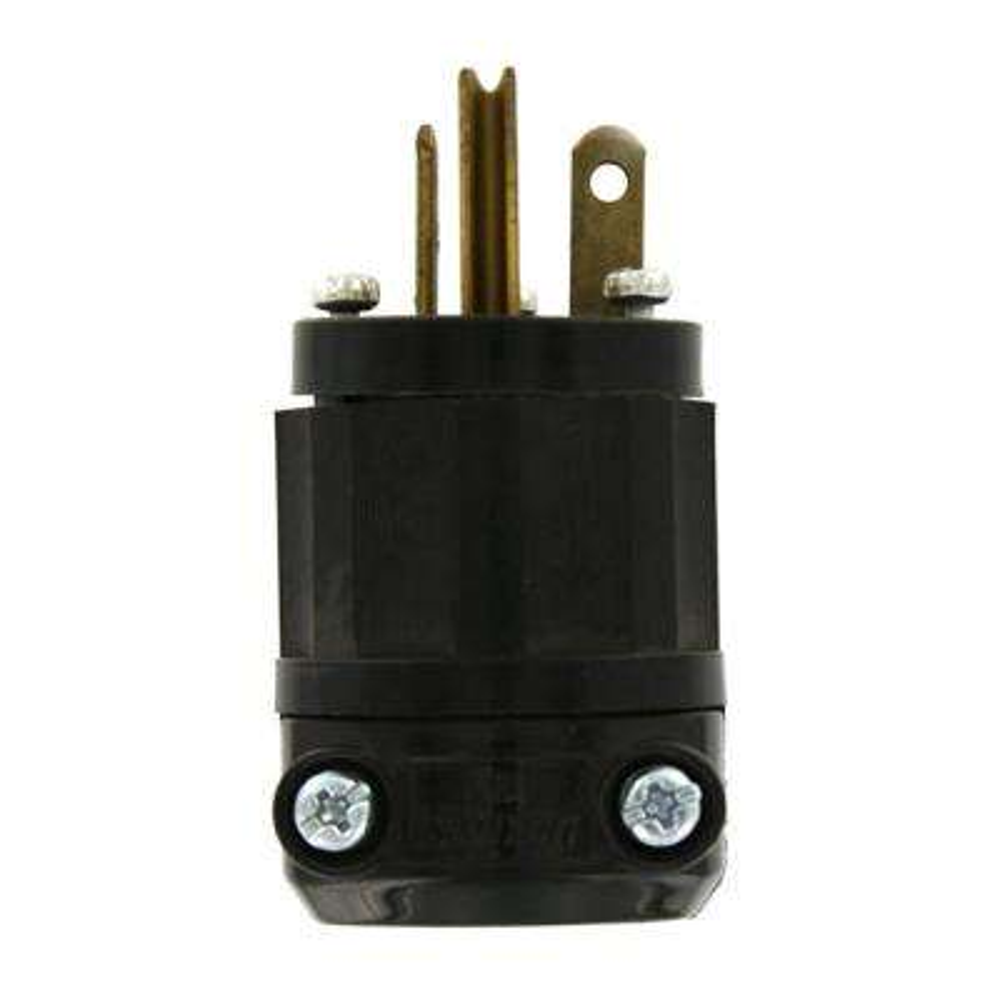 20 Amp 125-Volt Straight Blade Grounding Plug, Black