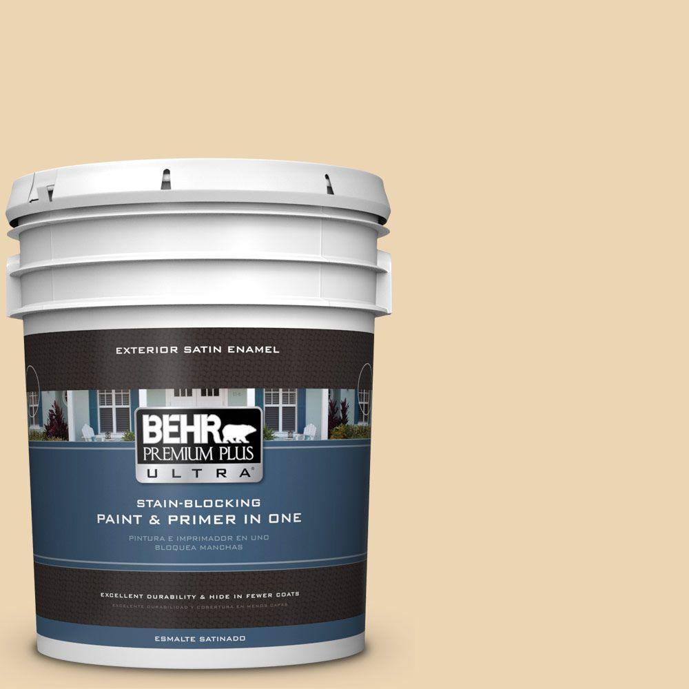 BEHR Premium Plus Ultra 5-gal. #340E-3 Bavarian Cream Satin Enamel Exterior Paint