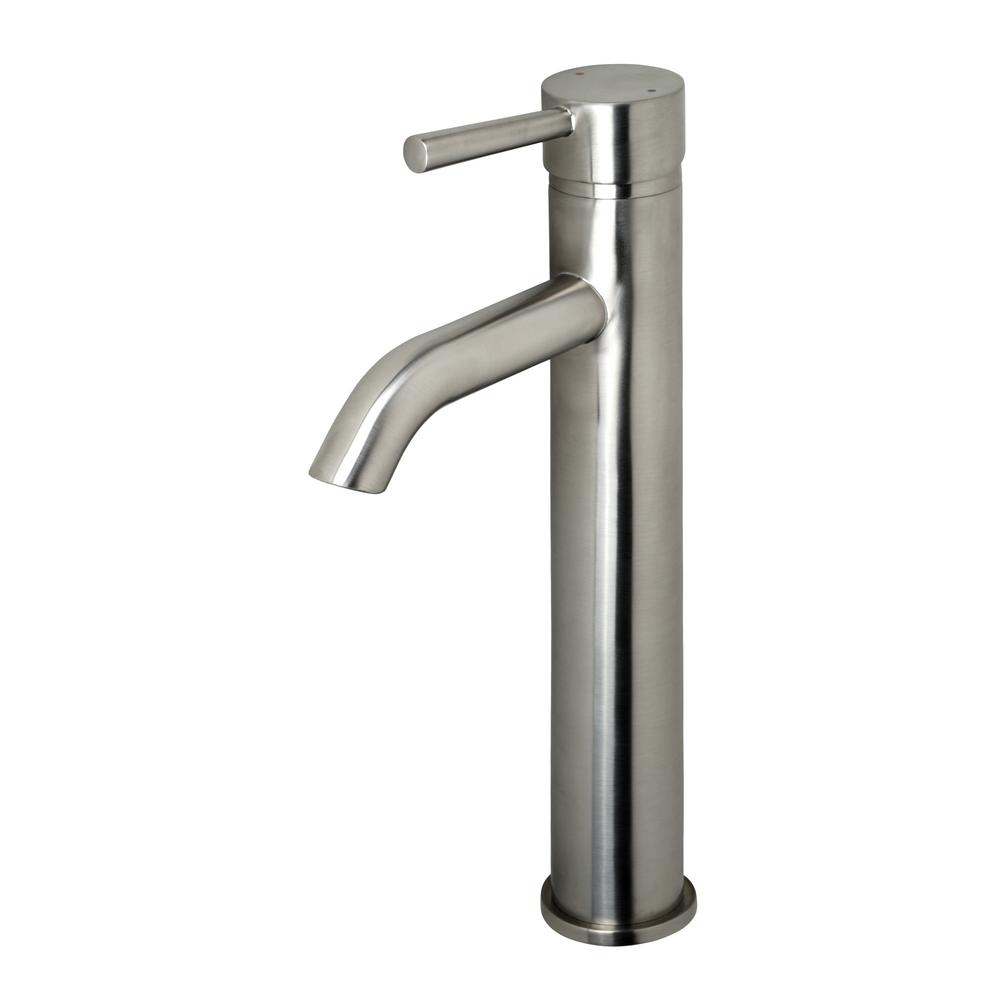 Luxier Single Hole Single-Handle Vessel Bathroom Faucet in Brushed Nickel with Pop-Up