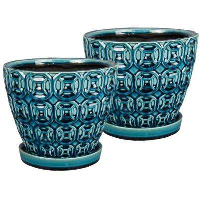 Mayer 8 in. Dia Seafoam Ceramic Pot (2-Pack)