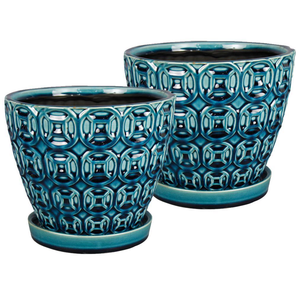 Mayer 8 in. Dia Seafoam Ceramic Pot (2-Pack)
