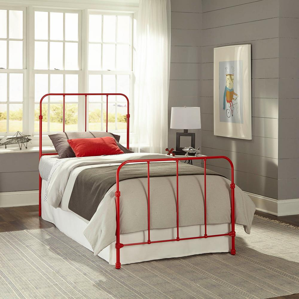 Nolan Candy Red Twin Kids Bed with Metal Duo Panels