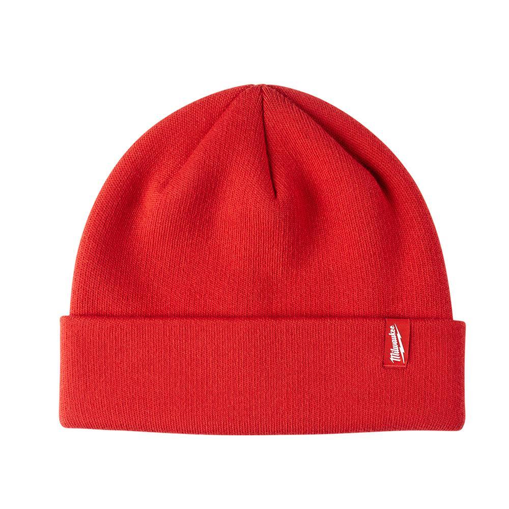 Men's Red Fleece Lined Cuffed Knit Hat