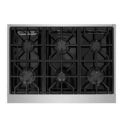 36 in. Pro-Style Gas Cooktop in Stainless Steel with 6-Burners