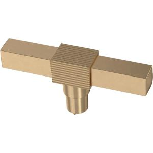 Fluted Square 3-1/8 in. (79 mm) Champagne Bronze Elongated T-Cabinet Knob