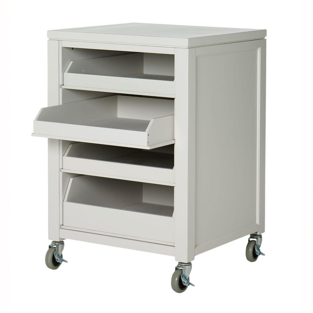 Martha Stewart Living 36 in. H Sharkey Gray Cart With Pull Out Trays