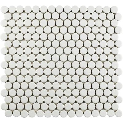 Hudson Penny Round Crystalline White 12 in. x 12-5/8 in. x 5 mm Porcelain Mosaic Tile