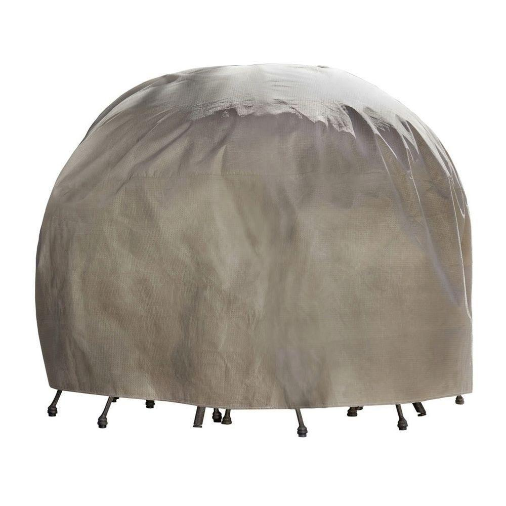 Duck Covers Elite 76 in. Round Patio Table and Chair Set Cover with Inflatable Airbag to Prevent Pooling