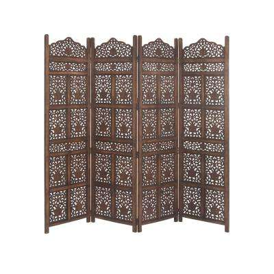 80 in. x 72 in. Large 4-Panel Brown Wood Screen Decorative Room Divider