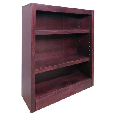 36 in. Cherry Wood 3-shelf Standard Bookcase with Adjustable Shelves