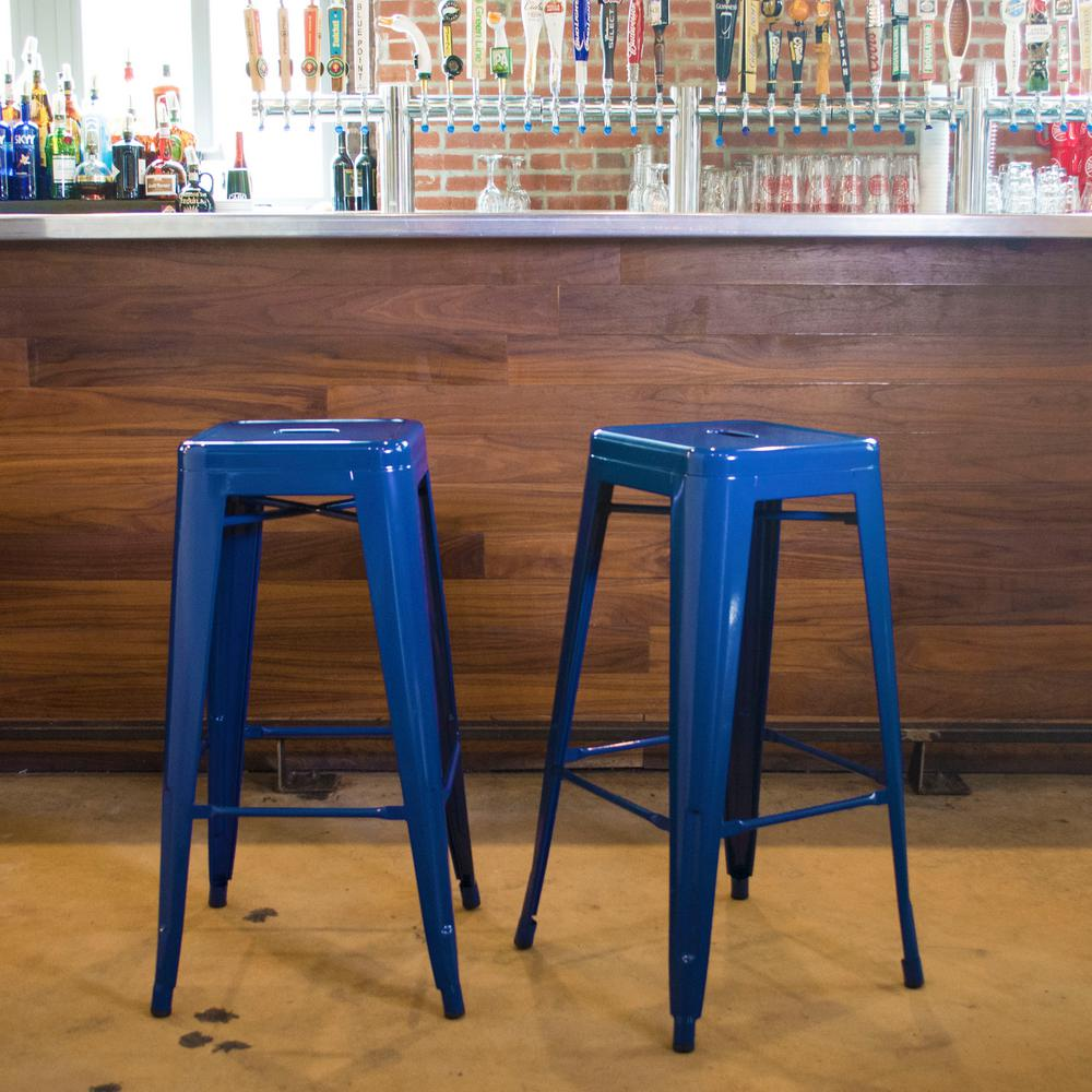 Lovely Stackable Metal Bar Stool In Blue (2 Piece)