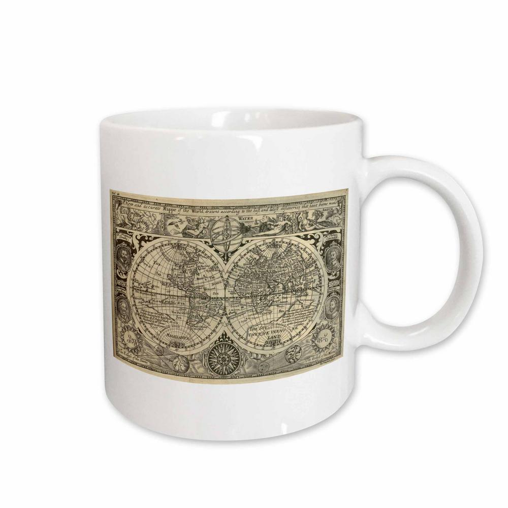 3drose Tnmgraphics Vintage Maps World Map 1628 11 Oz White Ceramic